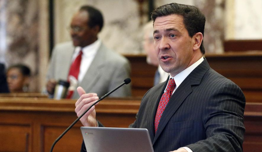 In this Tuesday, March 7, 2017, file photo, state Sen. Chris McDaniel, R-Ellisville, speaks about one of his amendments during a floor debate in the Senate chambers at the Capitol in Jackson, Miss. McDaniel will challenge U.S. Sen. Roger Wicker in the 2018 U.S. Senate race. (AP Photo/Rogelio V. Solis, File)