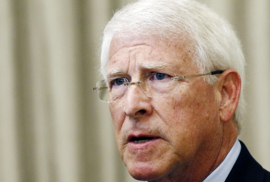 FILE - In this Monday, Aug. 14, 2017, file photo, U.S. Sen. Roger Wicker, R-Miss., speaks during an address before business leaders in Jackson, Miss. Mississippi lawmaker Chris McDaniel is hinting strongly that he will challenge Wicker in the 2018 U.S. Senate race. (AP Photo/Rogelio V. Solis, File)