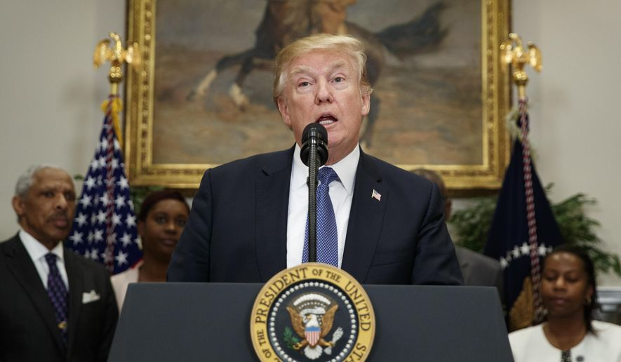 President Donald Trump during an event in the Roosevelt Room of the White House in Washington, Tuesday, Feb. 27, 2018, about additional leadership in the White House Initiative on Historically Black Colleges and Universities. (AP Photo/Carolyn Kaster)