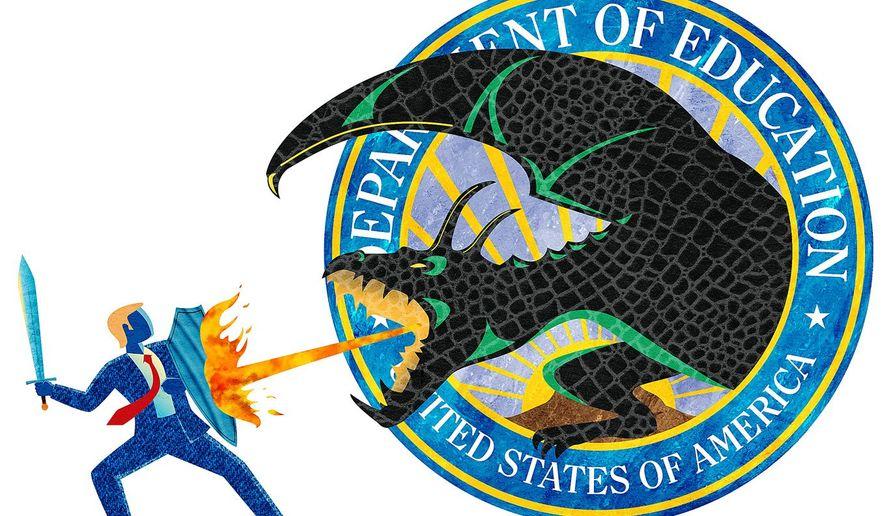 Donald the Dragon Slayer Illustration by Greg Groesch/The Washington Times