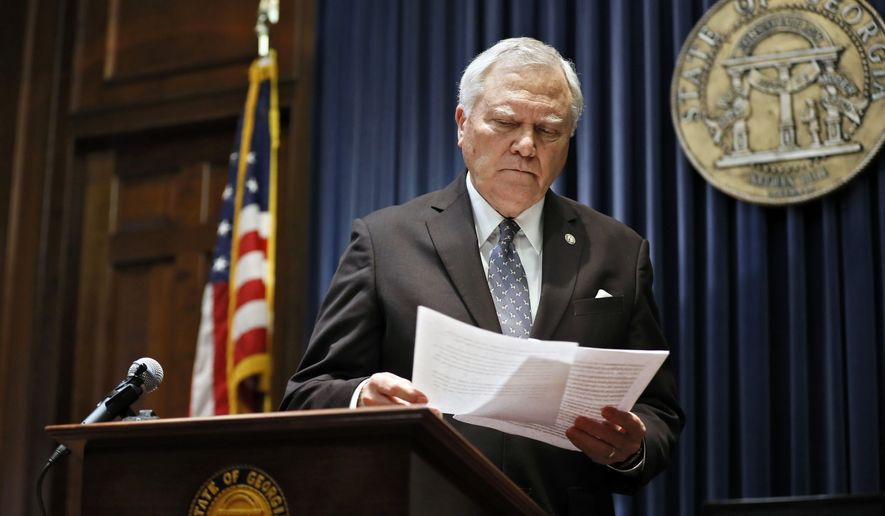 Georgia Gov. Nathan Deal held a press conference Wednesday, Feb. 28, 2018, in Atlanta, to address the jet fuel tax cut issue after the Senate Rules Committee stripped the Delta tax cut from legislation. Gov. Deal and legislative leaders had hoped they could make a deal Wednesday on the Delta fuel tax legislation - which also includes a state income tax rate cut. (Bob Andres/Atlanta Journal-Constitution via AP)