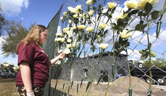 Annabel Claprood, a student at Marjory Stoneman Douglas High School touches one of the roses at the Pulse night club, Wednesday, Feb. 28, 2018 in Orlando, Fla.  Parents and students of Marjory Stoneman Douglas High School made a stop at the site of the nightclub attack  on their way back home from Tallahassee. Students returned to class at the high school, Wednesday, following the Feb. 14 mass shooting that killed several students and teachers.  (Red Huber/Orlando Sentinel via AP)