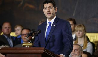 Speaker of the House Rep. Paul Ryan, R-Wis., speaks during a ceremony honoring Reverend Billy Graham in the Rotunda of the U.S. Capitol building, Wednesday, Feb. 28, 2018, in Washington. (AP Photo/Evan Vucci)
