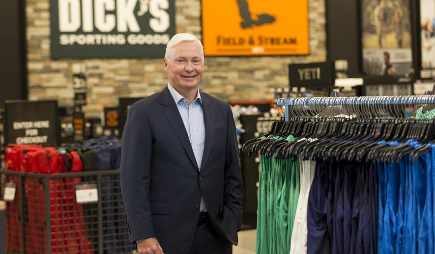In this Oct. 18, 2016, file photo, Chairman and CEO of DICK'S Sporting Goods Edward W. Stack poses for a photo as he visits a new store at the Baybrook Mall in Houston. (Photo by Scott Dalton/Invision for DICK'S Sporting Goods/AP Images) ** FILE **