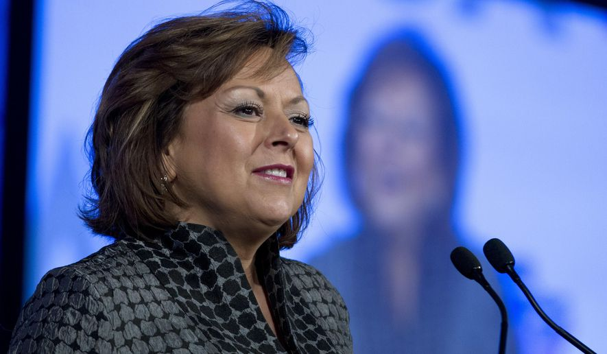 New Mexico Gov. Susana Martinez, speaks at the National Governor Association 2018 winter meeting, on Sunday, Feb. 25, 2018, in Washington. (AP Photo/Jose Luis Magana)