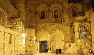 The Church of the Holy Sepulchre, traditionally believed by many Christians to be the site of the crucifixion and burial of Jesus Christ, is seen in Jerusalem, Wednesday, Feb. 28, 2018. Christian leaders said Tuesday that they will reopen the Church of the Holy Sepulchre in Jerusalem after Israeli officials suspended a plan to impose taxes on church properties in the holy city. (AP Photo/Mahmoud Illean)