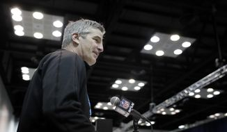 Indianapolis Colts head coach Frank Reich speaks during a press conference at the NFL football scouting combine, Wednesday, Feb. 28, 2018, in Indianapolis. (AP Photo/Darron Cummings)
