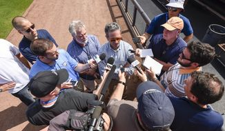 Tampa Bay Rays owner Stuart Sternberg speaks with reporters before a spring training baseball game against the Baltimore Orioles, Tuesday, Feb. 27, 2018, in Port Charlotte, Fla. (Chris Urso/Tampa Bay Times via AP)