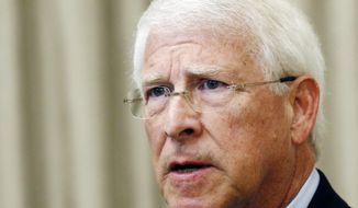 FILE - In this Monday, Aug. 14, 2017, file photo, U.S. Sen. Roger Wicker, R-Miss., speaks during an address before business leaders in Jackson, Miss. Mississippi lawmaker Chris McDaniel announced Wednesday, Feb. 28, 2018,  that he will mount a primary challenge to the state's other U.S. Senator, Roger Wicker.   McDaniel had hinted at the decision for days and made the announcement at an afternoon rally in his hometown of Ellisville.  (AP Photo/Rogelio V. Solis, File)