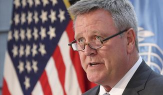 FILE - In this Aug. 1, 2017, file photo, Scott Blackmun, CEO of the U.S. Olympic Committee, speaks at Yongsan Garrison, a U.S. military base in Seoul, South Korea. Blackmun is resigning as CEO of the US Olympic Committee, citing health problems as the reason he'll depart after leading the federation for more than eight years. The 60-year-old CEO was diagnosed with prostate cancer earlier this winter, and did not attend the Pyeongchang Games. He announced his resignation Wednesday, Feb. 28, 2018, and Susanne Lyons, a member of the board, will serve as acting CEO. (AP Photo/Lee Jin-man, File) **FILE**