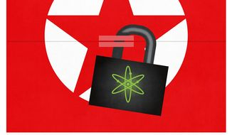 Illustration on denying nuclear dominance to North Korea by Linas Garsys/The Washington Times