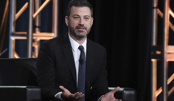 "In this Jan. 8, 2018 photo, Jimmy Kimmel participates in the ""Jimmy Kimmel Live and 90th Oscars"" panel during the Disney/ABC Television Critics Association Winter Press Tour in Pasadena, Calif. (Photo by Richard Shotwell/Invision/AP, File)"