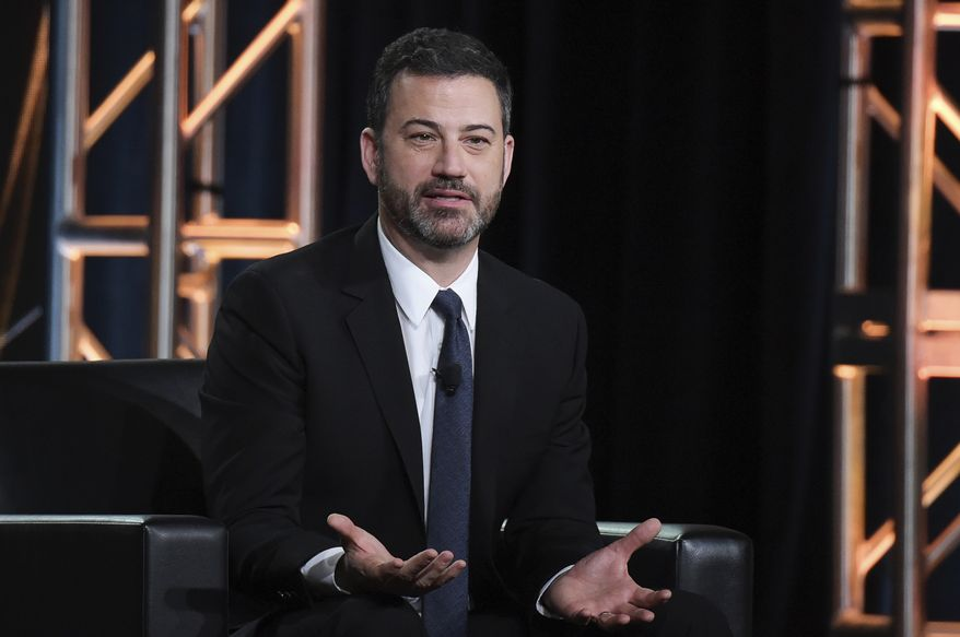 """In this Jan. 8, 2018 photo, Jimmy Kimmel participates in the """"Jimmy Kimmel Live and 90th Oscars"""" panel during the Disney/ABC Television Critics Association Winter Press Tour in Pasadena, Calif. (Photo by Richard Shotwell/Invision/AP, File)"""