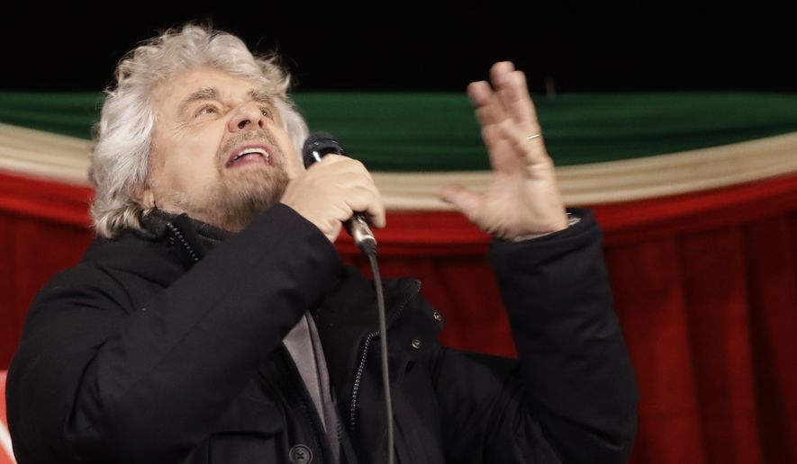 Comic-turned-politician and Five-Star movement's founder Beppe Grillo addresses a rally in Torre del Greco, near Naples, Italy, Monday, Feb. 12, 2018. A hung Parliament could be the result of the March 4 vote, which political analysts predict will produce three blocs: the 5-Star Movement, Berlusconi's center-right alliance and the center-left forces led by former Premier Matteo Renzi. (AP Photo/Alessandra Tarantino)