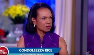 "Former Secretary of State Condoleezza Rice speaks about gun rights during an appearance on ABC's ""The View,"" March 1, 2018. (Image: ABC screenshot) ** FILE **"