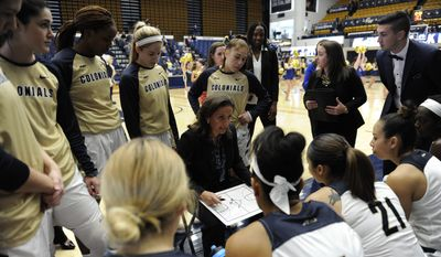 Jennifer Rizzotti, a member of the Women's Basketball Hall of Fame, is in her second season as the women's coach at George Washington. She played at UConn and was the coach at Hartford for 17 seasons before coming to Foggy Bottom. (Courtesy of George Washington University Athletics).