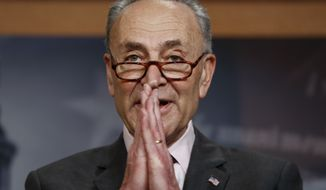 Senate Minority Leader Chuck Schumer, D-N.Y., introduces a three-point plan on guns that's supported by the Democratic Caucus, during a news conference at the Capitol in Washington, Thursday, March 1, 2018. Schumer indicated he was surprised at remarks by President Donald Trump yesterday on gun safety in the wake of the student massacre in Parkland, Fla., last month. (AP Photo/J. Scott Applewhite)