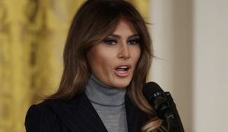 First lady Melania Trump speaks at the White House Opioid Summit in the East Room of the White House, in Washington, Thursday, March 1, 2018. (AP Photo/Carolyn Kaster)