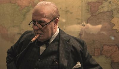 "Gary Oldman as Winston Churchill in ""Darkest Hour,"" now available on Blu-ray from Universal Studios Home Entertainment."