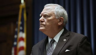 "Gov. Nathan Deal holds a press conference to address the jet fuel tax cut issue after the Senate Rules Committee stripped the Delta tax cut from legislation in Atlanta on Wednesday, Feb. 28, 2018. Deal is criticizing the ""unbecoming squabble"" that has engulfed the state Capitol since fellow Republicans threatened to punish Delta Air Lines for cutting business ties with the National Rifle Association. (Bob Andres/Atlanta Journal-Constitution via AP)"