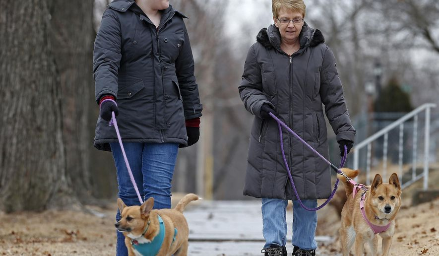 In this Feb. 10, 2018 photo, Dakota Powers, left, chats with her mom Karen Powers, while they  walk their dogs Lulu and Princess in Quincy, Ill. Karen has returned to Quincy after spending 27 years away, 12 of it in Phoenix. On cold, snowy days, Karen misses the warm, desert weather but, those moments pass quickly as she and her daughter, take their dogs for a walk, visit nearby family members, or drive somewhere. (Jake Shane/The Quincy Herald-Whig via AP)