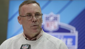 Cleveland Browns general manager John Dorsey speaks during a press conference at the NFL football scouting combine in Indianapolis, Thursday, March 1, 2018. Dorsey is willing to take trade offers for the No. 1 overall draft pick. He's even encouraging teams to make that call.(AP Photo/Michael Conroy)