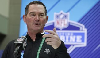Minnesota Vikings head coach Mike Zimmer speaks during a press conference at the NFL football scouting combine in Indianapolis, Thursday, March 1, 2018. (AP Photo/Michael Conroy)