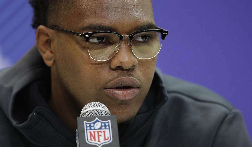 Oklahoma offensive lineman Orlando Brown speaks during a press conference at the NFL football scouting combine, Thursday, March 1, 2018, in Indianapolis. (AP Photo/Darron Cummings)