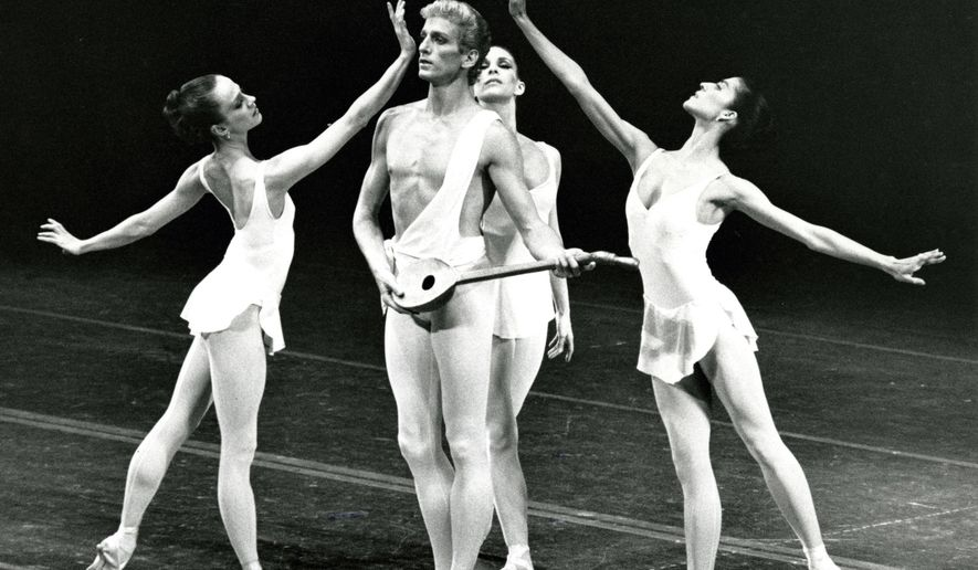 "In this 1986 image released by the New York City Ballet, Sean Lavery, center, appears with Lourdes Lopez, Stephanie Saland and Heather Watts during a performance of ""Apollo."" Lavery, whose career was cut short when he was diagnosed with a spinal tumor, died Monday, Feb. 26, 2018, at age 61. (Paul Kolnik/New York City Ballet via AP)"