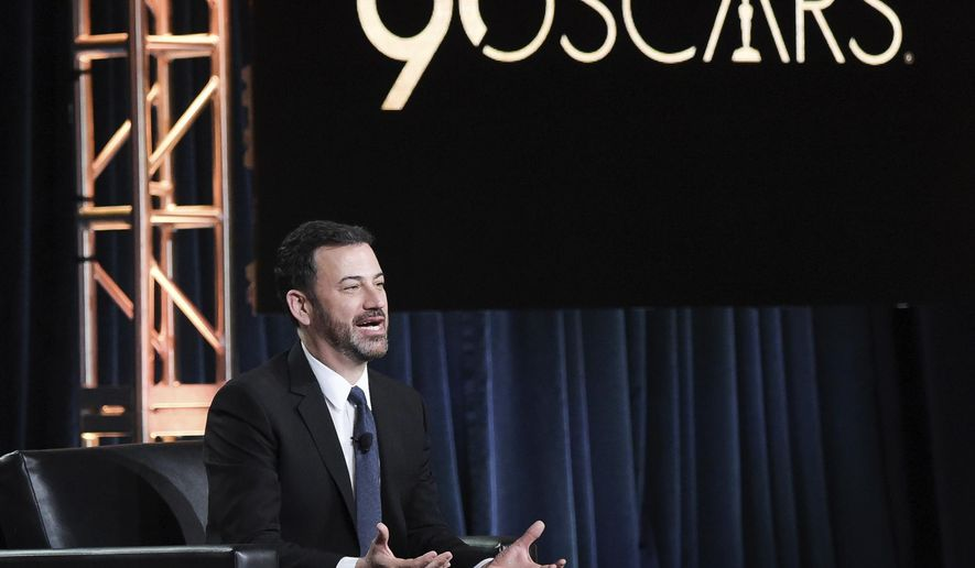 """FILE - In this Jan. 8, 2018, file photo, Jimmy Kimmel participates in the """"Jimmy Kimmel Live and 90th Oscars"""" panel during the Disney/ABC Television Critics Association Winter Press Tour in Pasadena, Calif. Kimmel says he wants to keep people laughing and let winners set the agenda for Sunday's Oscars ceremony. The late-night comedian is returning for his second stint as Oscars host. Kimmel tells The Associated Press that while he's been politically pointed on his ABC show, his main goal is to keep people laughing and """"appropriately honor"""" the people who he notes """"have dreaming of this night their whole lives."""" (Photo by Richard Shotwell/Invision/AP, File)"""