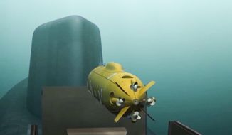 In this video grab provided by RU-RTR Russian television via AP television on Thursday, March 1, 2018, a computer simulation shows a Russian nuclear-powered underwater drone being released by a submarine. President Vladimir Putin declared Thursday that Russia has developed a range of new nuclear weapons, claiming they can't be intercepted by enemy. (RU-RTR Russian Television via AP)
