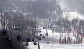FILE - In this Friday, Jan. 22, 2016, file photo, gondolas make their way through a thinned forest up the ski slope which would be the venue for the Pyeongchang 2018 Winter Olympics at the Jeongseon Alpine Center in Jeongseon, South Korea. With the Olympic Games coming to a close, one of the main questions facing South Korea and the consequences of hosting an expensive sports event is the future of the scenic Jeongseon Alpine Center, which was built in a formerly government-protected area where some 60,000 trees were razed. (AP Photo/Lee Jin-man)