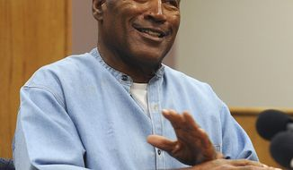 """FILE - In this July 20, 2017 file photo, former NFL football star O.J. Simpson attends his parole hearing at the Lovelock Correctional Center in Lovelock, Nev. Fox TV says it will air an O.J. Simpson special including an unseen 2006 interview in which he theorizes about what happened the night his ex-wife was murdered. The two-hour special, with the provocative title """"O.J. Simpson: The Lost Confession?"""" will air 8 p.m. EST Sunday, March 11. Soledad O'Brien is the host.  (Jason Bean/The Reno Gazette-Journal via AP, Pool)"""