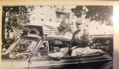 Rocco Loverro, uncle of columnist Thom Loverro, drives in a season-opening parade with former Brooklyn Dodgers pitcher Ralph Branca in the back seat. (Photo courtesy of Thom Loverro).