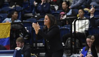 George Washington coach Jennifer Rizzotti led the Colonials to a win over rival George Mason on Friday in the quarterfinals of the Atlantic 10 Women's Tournament. (File photo courtesy of George Washington Athletics).