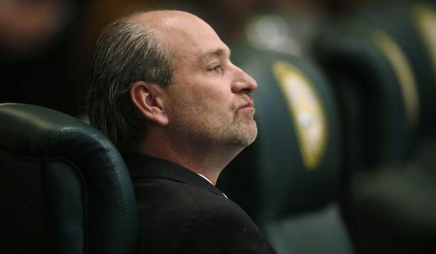 Colorado state Rep. Steve Lebsock, D-Thornton, listens during a debate in the chamber whether to expel the lawmaker over sexual misconduct allegations from his peers Friday, March 2, 2018, in the State Capitol in Denver. After hours of debate, Lebsock was expelled from the House. (AP Photo/David Zalubowski)