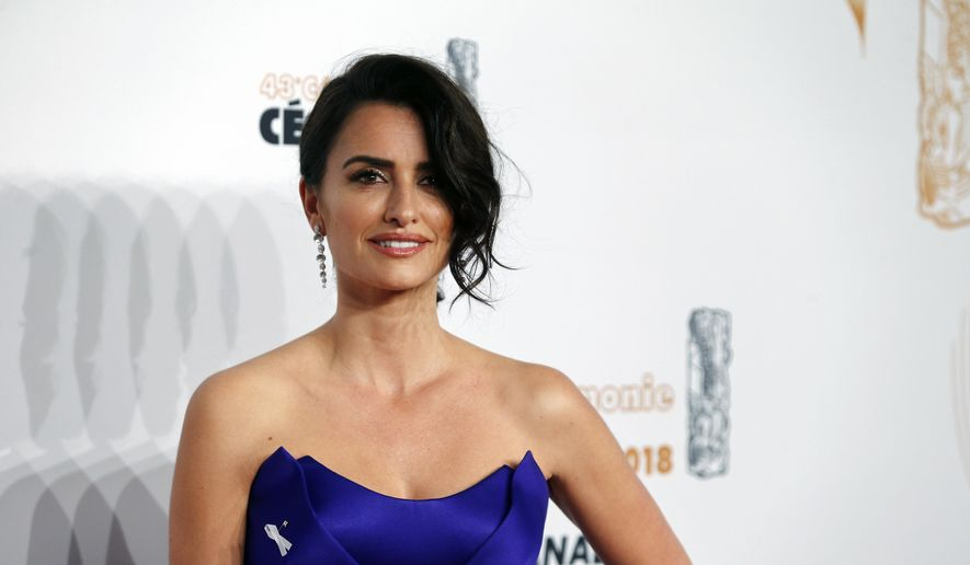 Actress Penelope Cruz arrives at the 43rd Cesar Film Awards ceremony at Salle Pleyel in Paris, Friday, March 2, 2018. France's movie industry holds its annual awards ceremony, with many stars at the Cesar Awards planning to wear a white ribbon to protest sexual misconduct. (AP Photo/Thibault Camus)