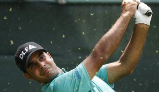 India's Shubhankar Sharma hits the ball during the second round of the Mexico Championship at the Chapultepec Golf Club in Mexico City, Friday, March 2, 2018. (AP Photo/Eduardo Verdugo)