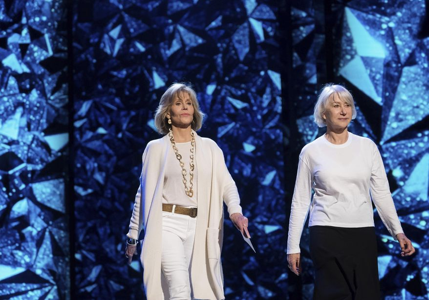 Jane Fonda, left, and Helen Mirren appear during rehearsals for the 90th Academy Awards in Los Angeles on Saturday, March 3, 2018. The Academy Awards will be held at the Dolby Theatre on Sunday, March 4. (Photo by Charles Sykes/Invision/AP)