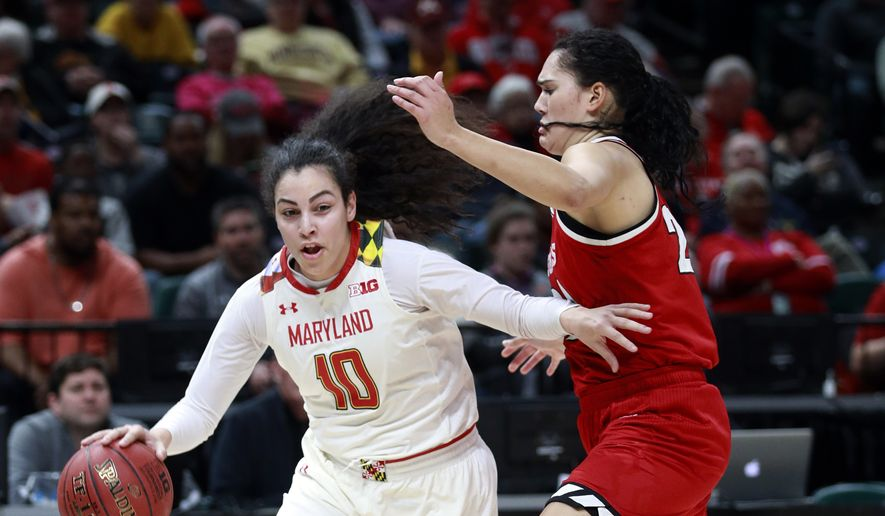 Maryland guard Eleanna Christinaki (10) drives on Nebraska forward Maddie Simon during the first half of an NCAA college basketball game in the semifinals of the Big Ten women's tournament,\ Saturday, March 3, 2018, in Indianapolis. (AP Photo/R Brent Smith) ** FILE **