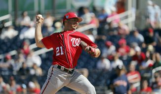 Washington Nationals pitcher Brandon Kintzler throws during the fourth inning of an exhibition spring training baseball game against the Houston Astros Saturday, March 3, 2018, in West Palm Beach, Fla. (AP Photo/Jeff Roberson) **FILE**