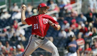 Washington Nationals pitcher Brandon Kintzler throws during the fourth inning of an exhibition spring training baseball game against the Houston Astros Saturday, March 3, 2018, in West Palm Beach, Fla. (AP Photo/Jeff Roberson)