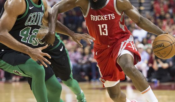Houston Rockets guard James Harden (13) drives by Boston Celtics forward Al  Horford ( 85d331a30