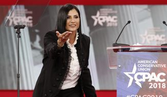 Dana Loesch, spokeswoman for the National Rifle Association, speaks at the Conservative Political Action Conference (CPAC), at National Harbor, Md. (AP Photo/Jacquelyn Martin)