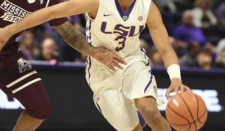 LSU's Tremont Waters (3) drives to the basket as Mississippi State's Lamar Peters (1) defends during the first half of an NCAA college basketball game Saturday, March 3, 2018, in Baton Rouge, La. (Patrick Dennis/The Advocate via AP)