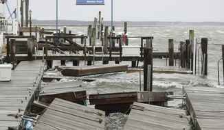 FILE - In this March 2, 2018 file photo, high winds and rough surf toss about the boat docks at Smuggler's Cove  in Stone Harbor, N.J.  Residents along the Northeast coast braced for more flooding during high tides Saturday even as the powerful storm that inundated roads, snapped trees and knocked out power to more than 2 million homes and businesses moved hundreds of miles out to sea. (Dale Gerhard/The Press of Atlantic City via AP)