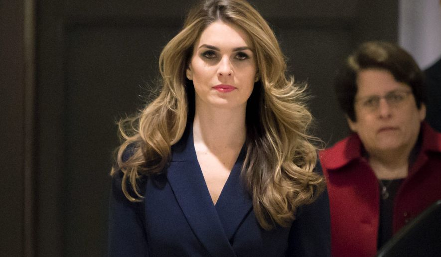 Outgoing White House Communications Director Hope Hicks, one of President Trump's closest aides, arrives to meet with the House Intelligence Committee. (Associated Press)