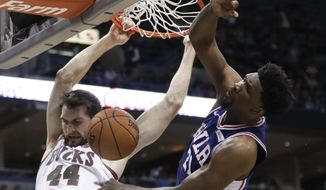 Milwaukee Bucks' Tyler Zeller is fouled by Philadelphia 76ers' Joel Embiid as he dunks during the second half of an NBA basketball game Sunday, March 4, 2018, in Milwaukee. The Bucks won 118.110. (AP Photo/Morry Gash)
