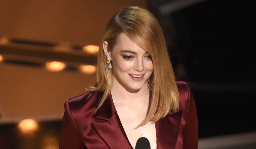Emma Stone presents the award for best director at the Oscars on Sunday, March 4, 2018, at the Dolby Theatre in Los Angeles. (Photo by Chris Pizzello/Invision/AP)