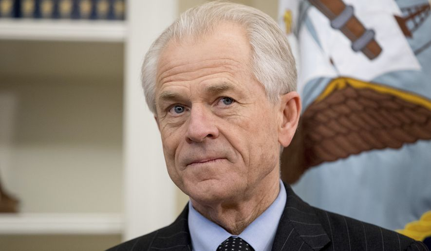 National Trade Council adviser Peter Navarro appears before President Donald Trump arrives to sign executive orders regarding trade in the Oval Office at the White House, Friday, March 31, 2017, in Washington. Trump left before signing the orders. (AP Photo/Andrew Harnik)